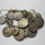 "Early 1900's Foreign Coin Bracelet 19 Coins 7.5 "" Long"