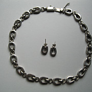 Vintage Sterling Silver Horseshoe Necklace & Pierced Earrings Set