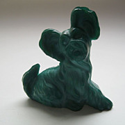 Vintage Signed Moser Karlsbad Green Malachite Terrier Dog Figurine