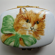 Limoges Hand painted Cat Box