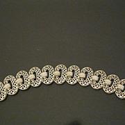 Vintage Signed Crown Trifari Silver Tone Metal Link Bracelet