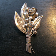 Vintage signed Hobe Sterling Silver Floral Spray Pin Broach