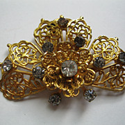 Vintage 12K Gold Filled & Rhinestone Butterfly Clip Pin Broach