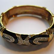 Vintage Black Enamel & Rhinestone Hinged Bracelet