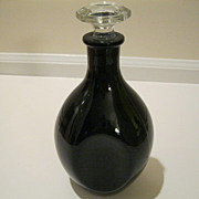 Vintage Black Amethyst Glass Decanter
