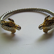 Vintage Silver Plate Turtle Theme Bangle Bracelet