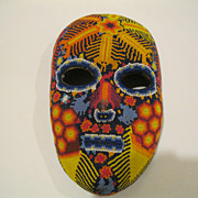 Vintage Mexican Huichol  Beaded Mask