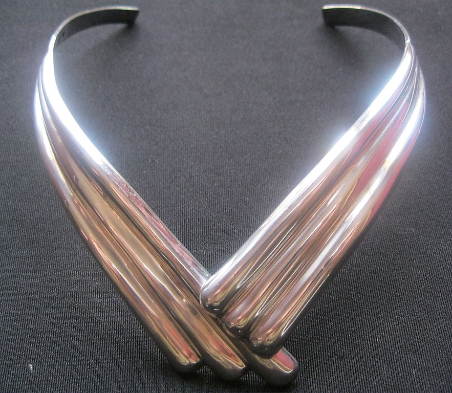 Vintage Taxco Mexico Sterling Silver Hand Made Contemporary Collar- Necklace 100 Grams