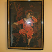 "Large Vintage Framed Needlepoint Of Young Boy 30"" X 21.5"""