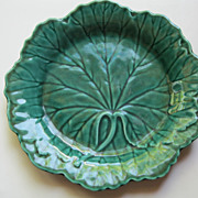 Vintage Wedgwood Majolica Green Leaf Plate