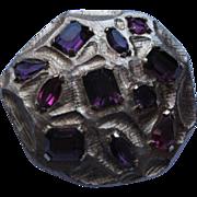 Vintage Signed Kramer Gold Tone Metal & Purple Pink Rhinestone Pin Broach