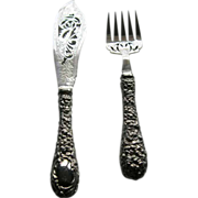 Vintage Stieff England Sterling Silver Repousse Fish Serving Set