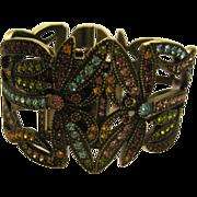 Signed Heidi Daus Dancing Dragonfly Jeweled Cuff Bracelet Watch
