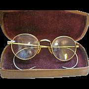 Vintage 12K Gold Filled Bifocal Eyeglasses & Leather Case