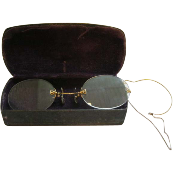 Antique Rimless 12K Rimless Pince Nez Eye Glasses With ...