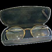 Vintage 12K Gold Filled Eyeglasses & Original Leather Case