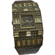 """Heidi Daus""""Suit Your Taste"""" Crystal Accented Baguette Black Leather Strap Watch"""