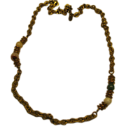 Vintage Signed Miriam Haskell Brass Link Beaded Chain Necklace Length 23.5""