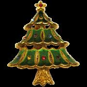 Vintage Signed JJ Enameled Rhinestone Christmas Tree Pin Broach