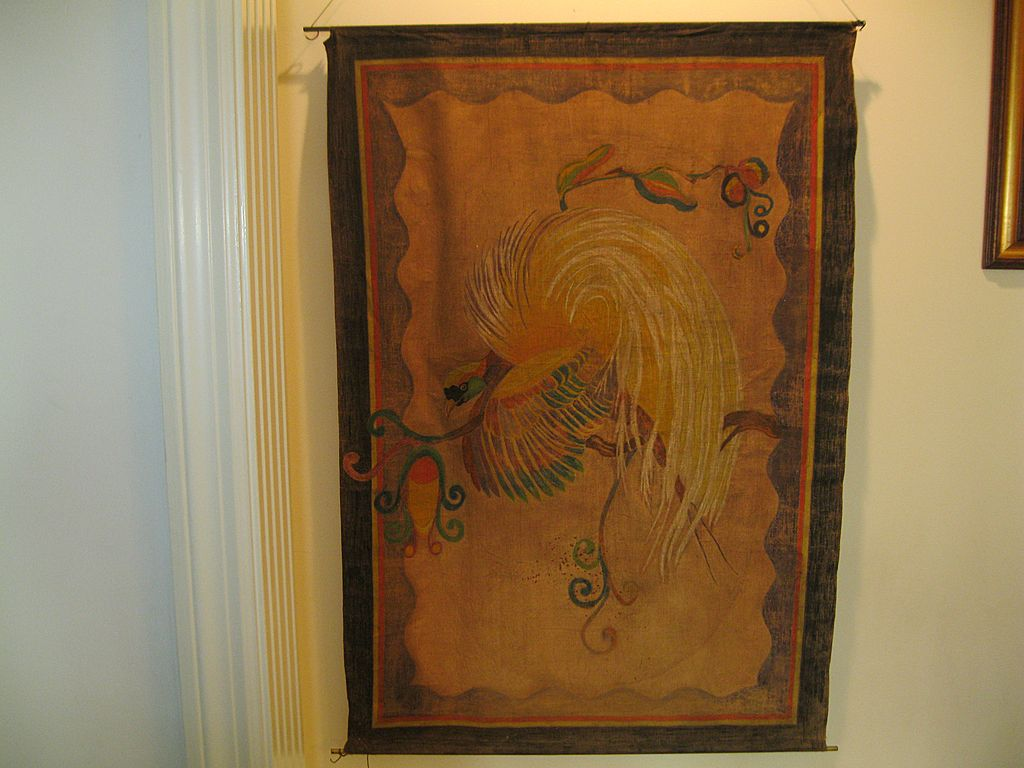 "Large Vintage Hand Painted Wall Hanging  Outsider Art 34.5"" X 49"""