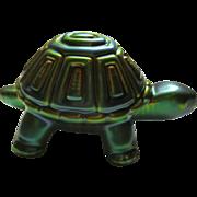 Vintage Zsolnay Green Gold Eosin Turtle Figurine