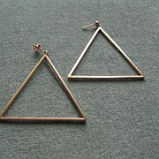 Vintage 1980's 14K Gold Triangular Long Earrings