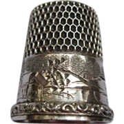 Vintage Sterling Silver Thimble with Border Design Sz 9