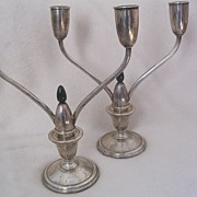 La Pierre Sterling Silver Deco Candleholders Weighted Reinforced