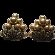 Pair of Vintage Faux Pearl Grape Cluster Fur Dress Clips