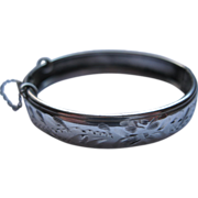 Sterling Silver Child's Bangle Bracelet With Safety Chain