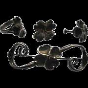 Staurt NYE Sterling Silver Dogwood Blossom Broach Earrings Ring Set