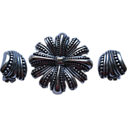 Vintage Signed Monet Sterling Silver Pin Broach Clip Earrings Set