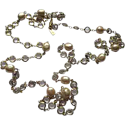"Vintage Kenneth Lane 50 "" Long Crystal & Faux Pearl Necklace"