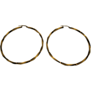"1980's 14 Karat Gold Twisted 2 1/8"" Diameter Hoop Earrings Italy"
