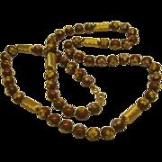 "Vintage Chinese Cloisonne Enamel Floral Bead Necklace 31"" Long"
