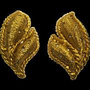Signed Hattie Carnegie Rhinestone & Gold Tone Metal Leaf Clip Earrings