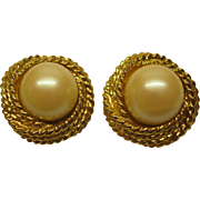 Vintage Signed KENNETH LANE Faux White Pearl Gold Tone Clip Earrings