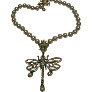 """Signed Heidi Daus Dragonfly Necklace """"Hues The Loveliest"""""""