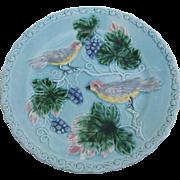 Signed German Majolica Bird Motif Plate