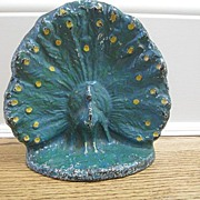 Rare Peacock Cast Iron Doorstop