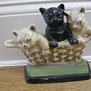 Three Kittens in a Basket Cast Iron Doorstop