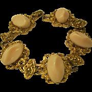Vintage Ornate Gold Tone Link Bracelet with Faux Pink Coral Stones