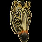 Sergio Bustamante Large Sterling Silver & Paper Mache Zebra Pin Pendant