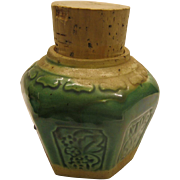 Vintage Green Majolica Ginger Jar