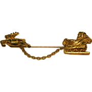 Vintage Signed AVON Santa Christmas Sleigh Pin Broach