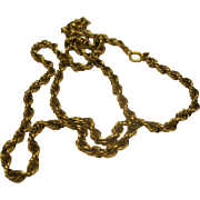 """Vintage 18"""" 14K Yellow Gold Twisted Rope Chain 9.5 Grams"""