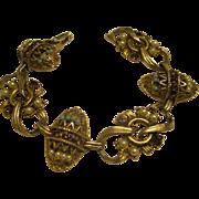 Vintage Victorian Revival Jeweled Gold Tone Link Bracelet