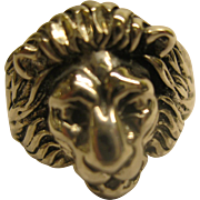 Vintage Sterling Silver Lion Head Ring SZ 9.5