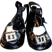 Vintage 2.5 Inch Ankle Tie Black Doll Shoes