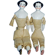 Two Antique 6 Inch 1870s German Flat Top China Doll